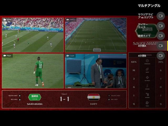 NHK2018FIFAワールドカップのマルチアングルでサッカー観戦