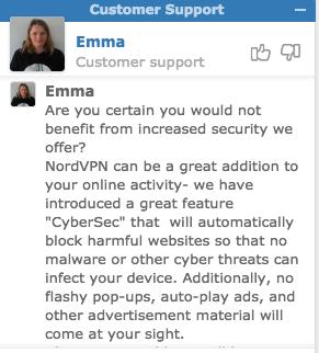 NordVPN(ノードVPN)でカスタマーサポートとチャット