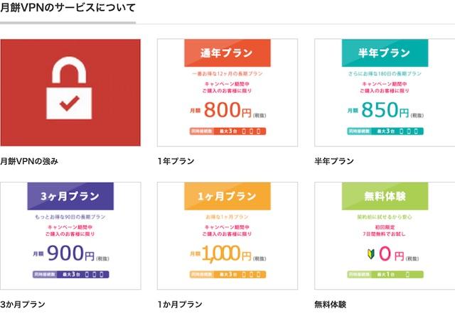 月餅VPNの料金