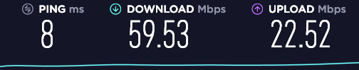 通常時のWi-Fiの通信速度