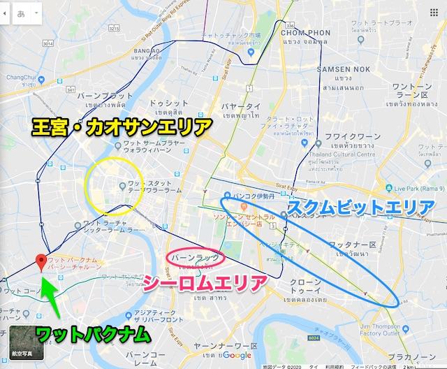 バンコク・ワットパクナムの地図(マップ)場所